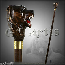 WALKING STICK CANE STAFF TOP HANDLE CARVED CRAFTED WOODEN HANDMADE GRIZZLY BEAR