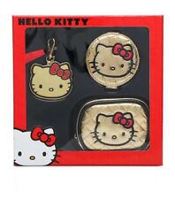 NEW! Hello Kitty Gold Gift Set - Includes Cosmetic Bag, Bag Charm & Mirror