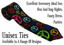 multi colour peace design skinny neck unisex tie joke novelty fancy dress party