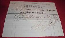 rechnung nicolaus blickle hausen top nostalgie deko alt antik 1878 papier