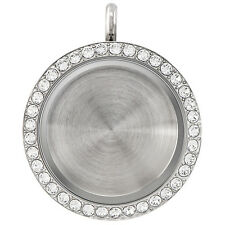 Origami Owl Large Silver crystal Locket Twist Face & Solid Silver Base NEW!