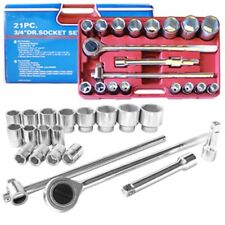 "21pc. 3/4"" DRIVE DR SAE SIZE SIZED LARGE RATCHET SOCKET SET TOOL KIT WRENCH"