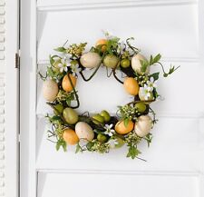 "Easter Wreath ""Spring Colors"" with Decorative Eggs, Flowers and Leaves"
