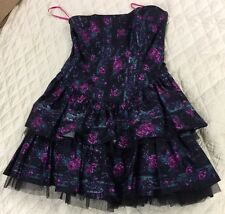 RARE BETSEY JOHNSON FORMAL COCKTAIL DRESS BLACK & PURPLE SZ 12 ROSES FLOWERS