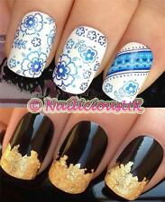 NAIL ART SET #162 BLUE FLOWERS/STRIP WATER TRANSFERS/DECALS/STICKERS & GOLD LEAF