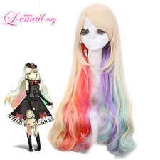 VOCALOID Mayu Harajuku Long Mixed Multi Color Anime Curly Wavy Cosplay Hair Wig