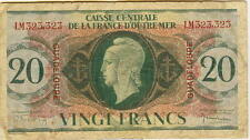 GUADELOUPE - CAISSE CENTRALE - 20 FRANCS 1944 P-8a WORLD WAR II SERIAL # 323,323