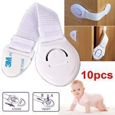 10pcs Child Safety Cabinet Cupboard Corner Baby Safe drawer Cloth belt Locks TL