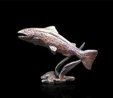 Small Salmon Solid Bronze Foundry Cast Sculpture by Michael Simpson (803)