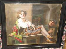 GEIGER Richard, *1870  Räkelnde Schönheit mit Musikant TOPWERK