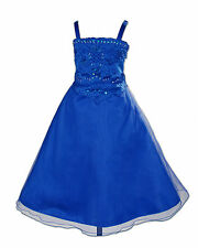 Nuovo Blu Scuro Damigella D'onore Festa Flower Girl Dress 10-11 Years