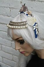 Mermaid Forehead Chain Pearl Crown Sea Shell Festival Blue Head Band Gobbolino