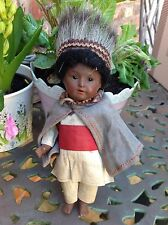 "Heubach 9""  German bisque head antique Indian doll all original"