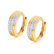 Womens Mens Silver 18K gold filled crystal round Hoop earings earings wholesale