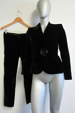 NWT DOLCE&GABBANA black velvet pants suit with large button on jacket size 40/6