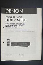 DENON DCD-1500 II Originale Lettore CD Istruzioni D'uso/istruzioni d'uso