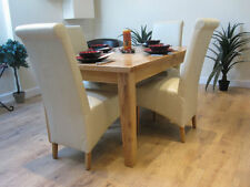 Extending Solid Oak Dining Table And Four Ivory Leather Chairs Dining Set 1LF