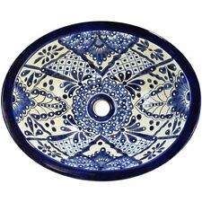 #107) MEDIUM 17x14 MEXICAN BATHROOM SINK CERAMIC DROP IN UNDERMOUNT BASIN