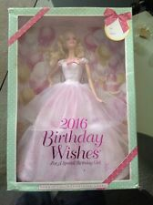 2016 Birthday Wishes Barbie In Box Doll Dress Stand COA Pink Label