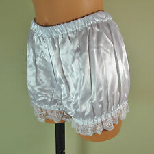 White sliPpy soft stretchy satin effect sissy bloomers knickers pants M/L 14678