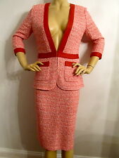 NEW  ST JOHN KNIT SIZE 8 CINNABAR WHITE & BLUSH TWEED KNIT SKIRT SUIT WOOL