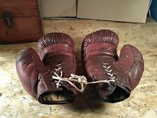 Vintage Russian Soviet USSR Leather Brown Boxing Gloves