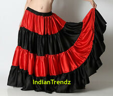 Red & Black Satin 6 Yard Tiered Gypsy Skirt Belly Dance Ruffle Jupe Flamenco