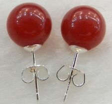 New 10mm Jewelry Natural Red Ruby & Sterling Stud Earrings