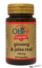 GINSENG & JALEA REAL 600 MG. 60 CAPSULAS OBIRE / ENERGETICO - TONIFICANTE OB4043