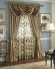 Hyatt WINDOW TREATMENT,complete 7 pc. set-panel +valance+ sheer gold antique