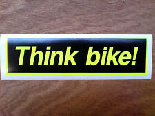 THINK BIKE FLOURESCENT Motorcycle Safety Awareness Sticker/ Decal 1 off 164mm
