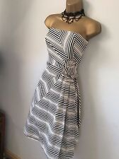Gorgeous Coast Black White Stripe Bandeau Rosette Dress UK 14 EU 42 US 10