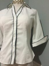 ANN FONTAINE Paris White Cotton, 3/4 Sleeve BLOUSE , size 40  /S/