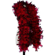 Red with Black Tip 150 Gram Turkey Feather Boas - Turkey Ruff - Halloween