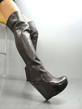 MORI ITALY WEDGES OVERKNEE HEELS BOOTS STIEFEL STIVALI LEATHER BROWN MARRONE 42
