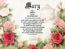 """""""Secret Garden"""" Name Meaning Prints Personalized (Flowers, Roses, Floral)"""