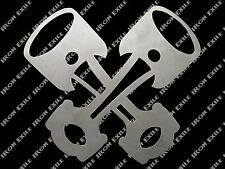 Crossed Pistons Hot Rat Rod Grill Insert Metal Stencil Garage Wall Art Gearhead
