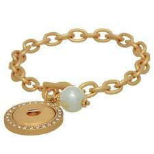 GOLD TONE TOGGLE SNAP 7 INCH BRACELET WITH FAUX WHITE PEARL & CRYSTAL ACCENTS