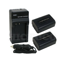 2 Battery + Charger Combo Set for Sony NP-FV50 NP-FV40 NP-FV30 HDR-CX200