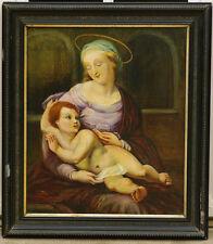 tableau Madone 1894 monogramme AB vierge à l'enfant