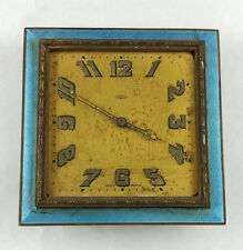 ANTIQUE ART NOUVEAU GOERING GLASS ENAMEL GUILLOCHE DESK CLOCK
