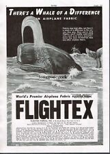 1947 Flightex Fabrics Inc Vintage Airplane related Print Ad Sperm Whale