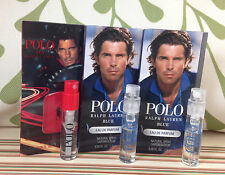 Lot *3* RALPH LAUREN POLO BLUE edp + POLO RED edt travel Spray Samples, .05 oz