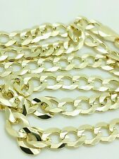 """14k Solid Yellow Gold Cuban Curb Link Necklace Chain 22"""" 5.7mm"""