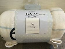 "M&S WHITE & BLUE STRIPE BABY BLANKET WITH WORDS ""THE WORLD IS BIG"" - BNWT"