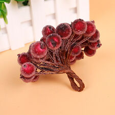 Wine Red Fruit Berry Holly Artificial Flower Pick Christmas Party Decor DIY 20pc