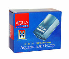 Aqua Culture 20-60 Gallon Aquarium AIR PUMP DOUBLE OUTLET + 2 Check Valves NEW
