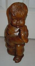 Carved Toddler Child Wooden Statue - From Thailand - From 1970s