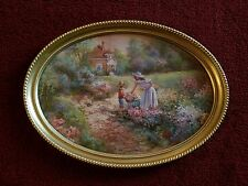 "Home Interior Oval ""Mother & Child Picking Flowers"" Picture - Good Used Cond!!"