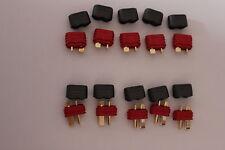 5 Paar Nylon Dean T- Stecker T- Plug Hochstrom Stecker mit Kabelschutz 10Stück